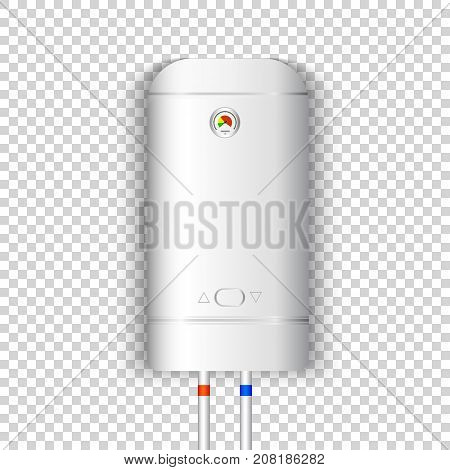 White gas boiler electric water heater with controller and indicator of the heating water on transparent background. Vector illustration
