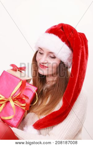 Happy Woman Make Christmas Presents
