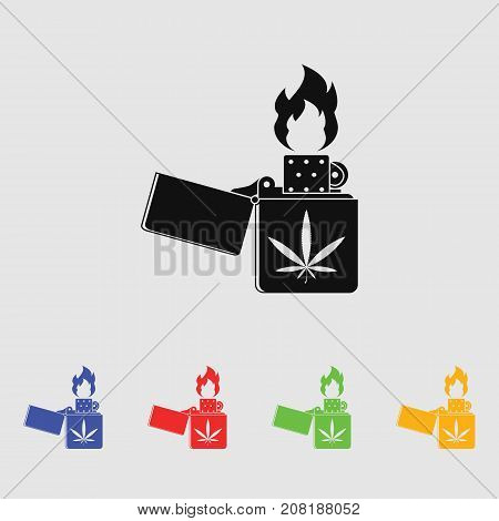 Lighter marijuana vector icon for web and mobile