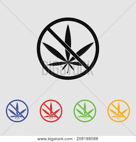 No marijuana prohibition vector icon for web and mobile