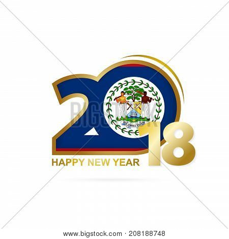 Year 2018 With Belize Flag Pattern. Happy New Year Design.