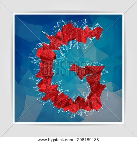 abstract red modern triangular emblem of G on a blue geometric background