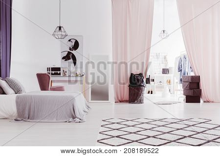 Pink Curtains In Sophisticated Bedroom