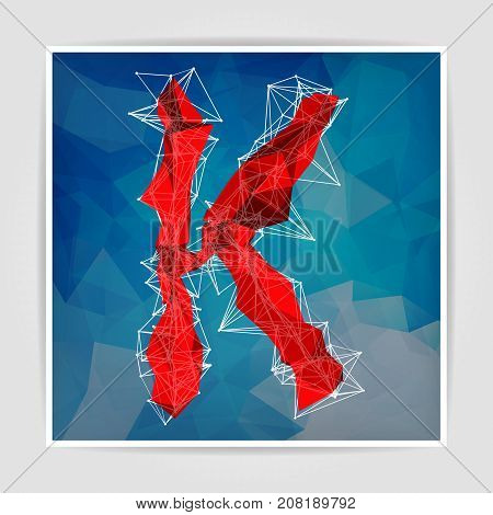 abstract red modern triangular emblem of K on a blue geometric background