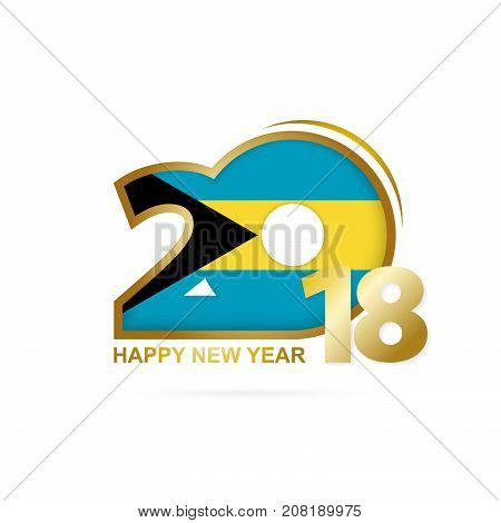 Year 2018 With The Bahamas Flag Pattern. Happy New Year Design.