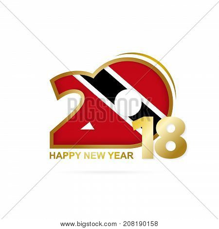 Year 2018 With Trinidad And Tobago Flag Pattern. Happy New Year Design.