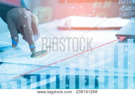 Profit graph of stock market indicator with hand shake background. Abstract stock data concept. Stock financial statistic graph analysis. Stratagy plan finance concept