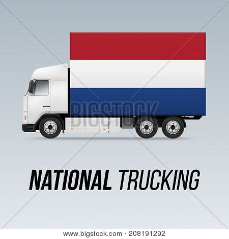 Symbol of National Delivery Truck with Flag of Netherlands. National Trucking Icon and Dutch flag