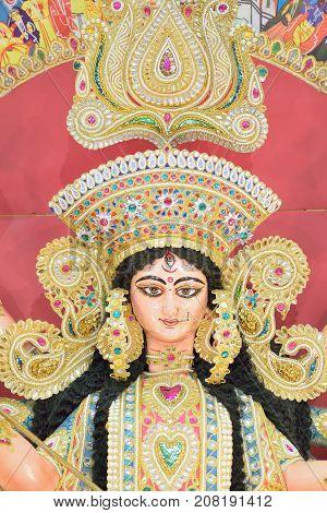 Clay idol of Hindu Goddess Durga during Durga Puja festivals in West Bengal, India