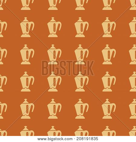 Kettle vector illustration on a seamless pattern background. Set of elements