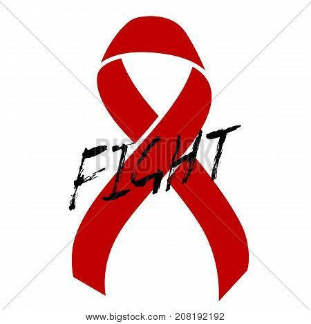 Red ribbon the symbol of Aids day awareness , 1 december. World cancer day, 4 february. Vector illustration.