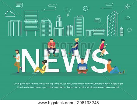 News vector banner design concept.Young men and women are standing near big letters and using their own smart phones for reading news. Flat design.