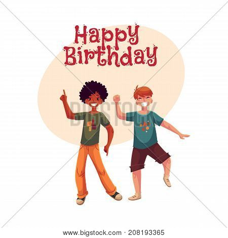 Happy birthday vector greeting card, poster, banner design with Black and Caucasian boys, kids, friends having fun, dancing at party. Happy boys dancing, jumping at a kids, birthday party, having fun