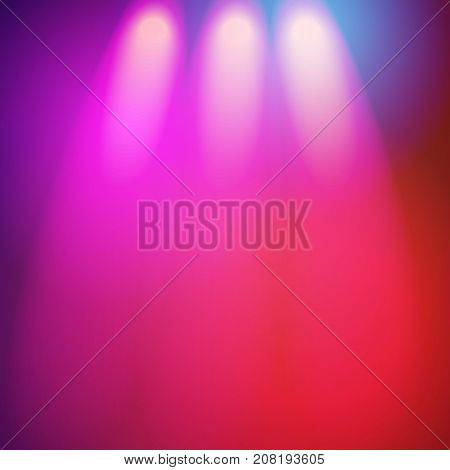 Colorful vector background with nightclub lights, spotlights glowing in dark. Realistic retro style vector background with shining spotlights, nightclub lamps for poster, banner, advertisement design