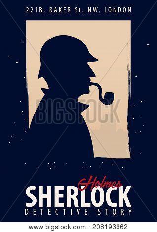 Sherlock Holmes Poster. Detective Illustration. Illustration With Sherlock Holmes. Baker Street 221B
