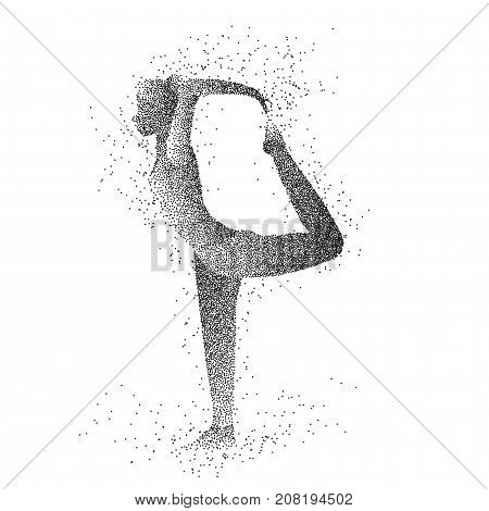 Woman is practicing yoga position. Female particle silhouette of a woman isolated on a white background.