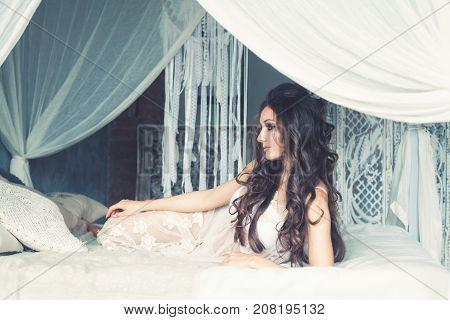 Perfect Glamourus Fashion Model Woman in White Interior