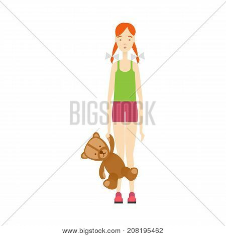 vector flat beautiful young girl in casual summer clothing holds bear toy. Isolated illustration on a white background. Long hair brunette woman full lenght portrait. Family character cartoon concept.
