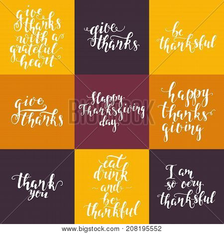 Vector Happy Thanksgiving day lettering collection. Handdrawn typography. Thanksgiving party invitation and greeting card design. Brush script. Vector inscriptions set.
