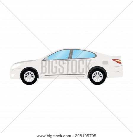 Car vector template on white background. Business sedan isolated. white sedan flat style. side view.