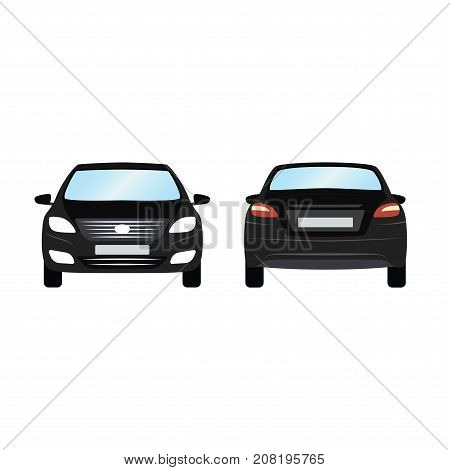 Car vector template on white background. Business sedan isolated. black sedan flat style. side back front view.