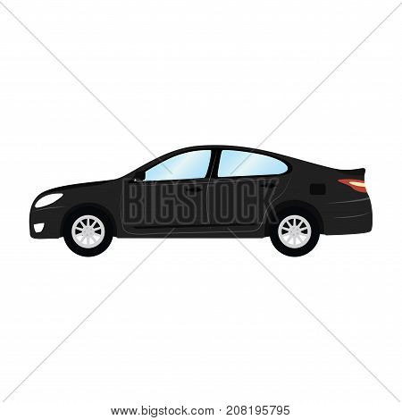 Car vector template on white background. Business sedan isolated. black sedan flat style. side view.