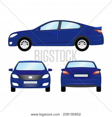 Car vector template on white background. Business sedan isolated. blue sedan flat style. side back front view.