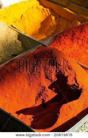 Aromatic ground spices at the Pahar Ganj street market New Delhi India. poster