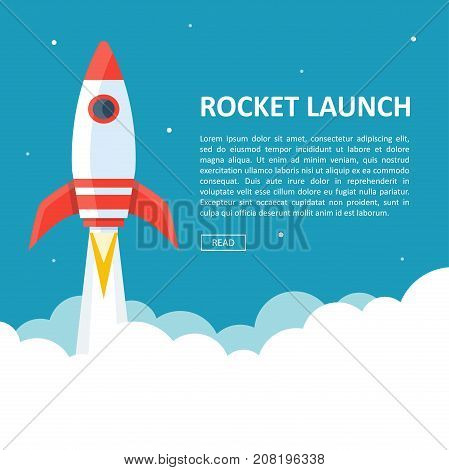 Rocket launch copyspace. Takeoff phase of the flight, orbital spaceflights in air, business startup symbol. Vector flat style cartoon illustration isolated on white and blue background