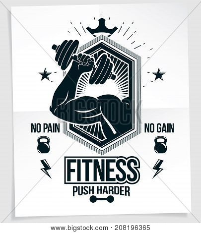 Fitness club advertising poster. Vector composition of muscular bodybuilder arm holds dumbbell sport equipment. No pain no gain writing.
