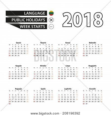 2018 Calendar In Lithuanian Language. Week Starts From Sunday.