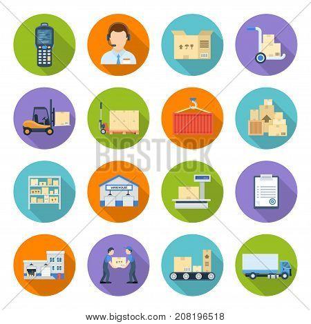 Warehousing and storage. Logistics operations within business, supply chain management, distribution establishing a global network. Vector flat style cartoon illustration isolated on white background