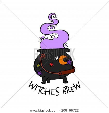 Witch brew. Witch's cauldron. Isolated vector object on white background.