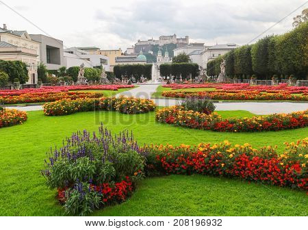 Beautiful gardening in Salzburg city center against the walls of the fortress and the old city in center of Salzburg Austria