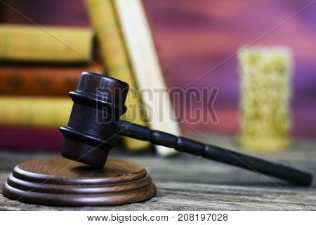 Judges Gavel in courtroom. Law theme image