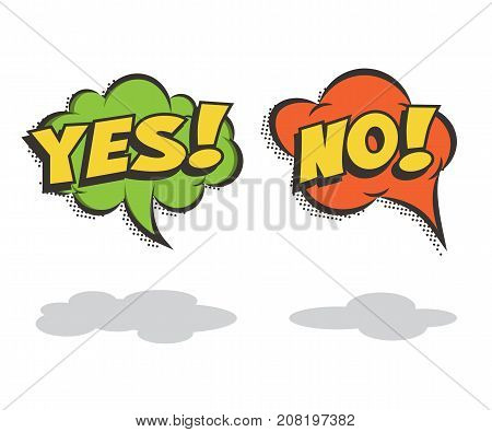 Speech bubbles YES and NO. Vector comic book elements