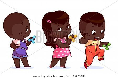 Set Of Cute Characters. Little Kids With Spinners.