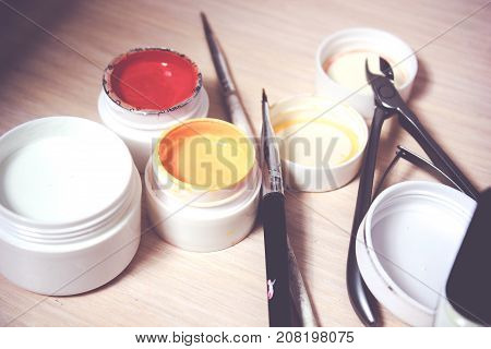 materials for manicure on a white background. studio shot