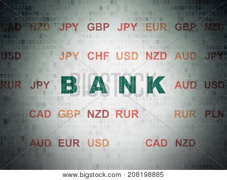 Banking concept: Painted green text Bank on Digital Data Paper background with Currency