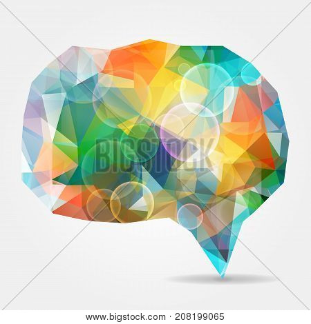 Abstract colorful geometric speech bubble with bubbles and triangular polygons