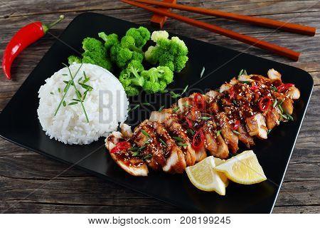 Tasty Teriyaki Chicken With Rice And Broccoli