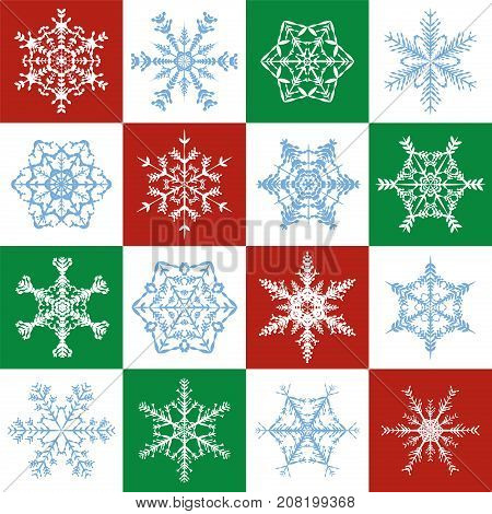 Snowflakes pattern - delicate red, green, white christmas background with sixteen different designs - seamless extendable square size vector illustration.
