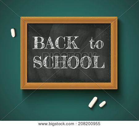 Vector illustration of a chalkboard and chalks with text back to school. Back to school on the chalkboard.