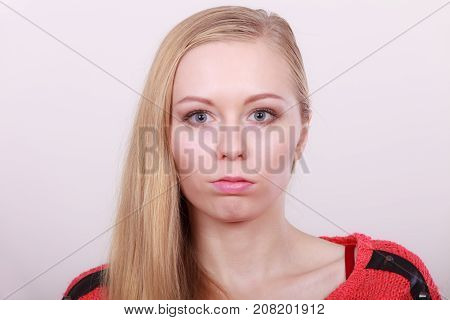 Adolescence hairstyle for youth concept. Portrait of blonde charming teenage girl with long hair.