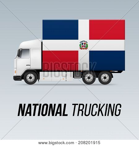 Symbol of National Delivery Truck with Flag of Dominican Republic. National Trucking Icon and flag design
