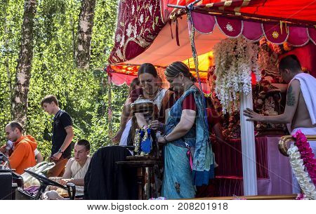 Moscow Russia - August 12 2017: Independence Day of India Celebration. Ratha Yatra.