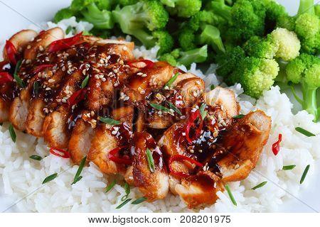 Close-up Of Delicious Teriyaki Chicken Breast