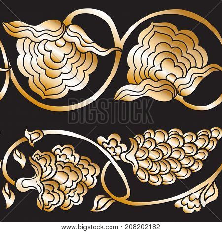 Seamless traditional chinese pattern with floral ornament in gold. Stock vector illustration.