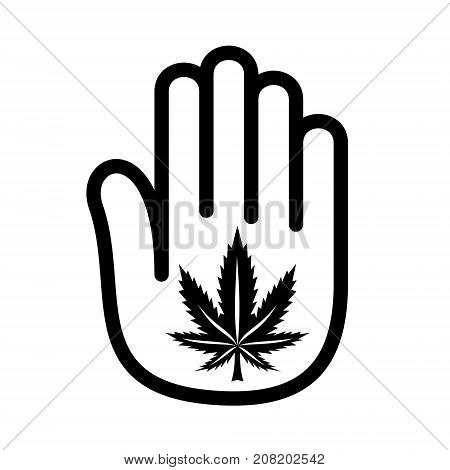 Hand palm open marijuana cannabis logo icon. Outline illustration of hand open palm with marijuana cannabis vector illustration for print or web design.