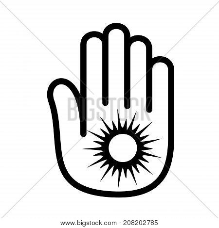 Hand sun shining palm open logo icon. Outline illustration of hand open palm with sun shining number open vector illustration for print or web design.